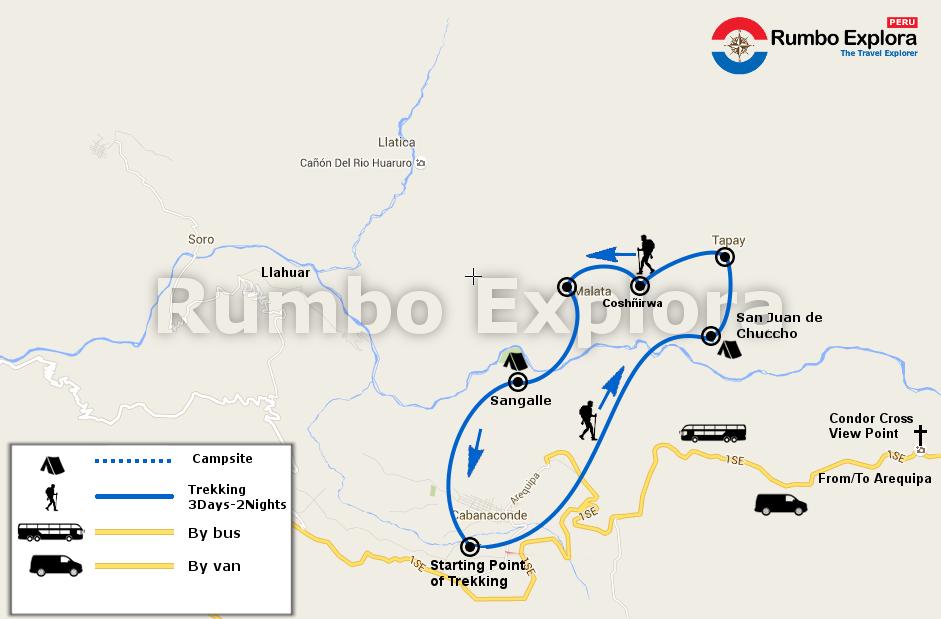 mapa colca trekking 3d en