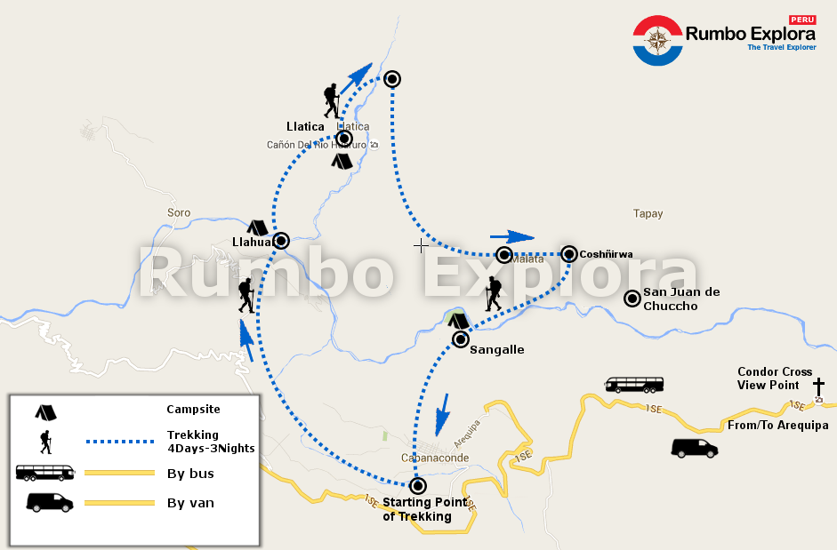 mapa colca trekking 4d en