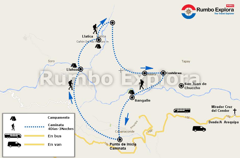 mapa colca trekking 4d es